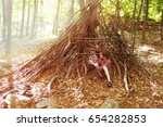 children play in a hut out of... | Shutterstock . vector #654282853