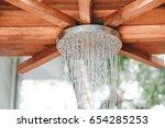 close up open outdoor rain... | Shutterstock . vector #654285253