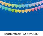 colored flags garland. blue... | Shutterstock . vector #654290887