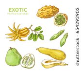 exotic fruits and vegetables.... | Shutterstock .eps vector #654292903