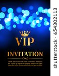 vip invitation card with gold... | Shutterstock .eps vector #654302113