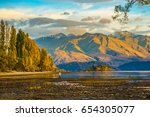 a morning walk to the lone tree ... | Shutterstock . vector #654305077