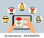 order flowers online concept... | Shutterstock .eps vector #654306943