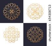 floral logo set. flower icon.... | Shutterstock .eps vector #654308713