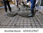 pouring concrete slab | Shutterstock . vector #654312967