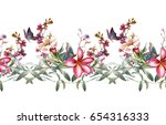 Stock photo watercolor painting of leaf and flowers seamless pattern on white background 654316333
