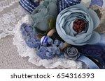 beautiful stylish brooch made... | Shutterstock . vector #654316393