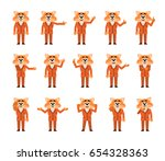 set of fox in suit characters... | Shutterstock .eps vector #654328363
