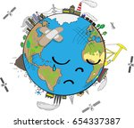 sad planet earth crying and... | Shutterstock .eps vector #654337387