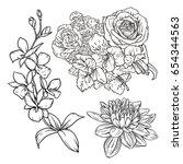 outline flower vector... | Shutterstock .eps vector #654344563