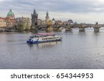 view of the charles bridge and  ... | Shutterstock . vector #654344953