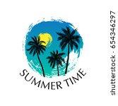 summer time vector poster. hand ... | Shutterstock .eps vector #654346297