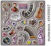 set of music cartoon stickers.... | Shutterstock .eps vector #654350017