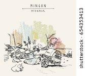mingun near mandalay  myanmar ...   Shutterstock .eps vector #654353413