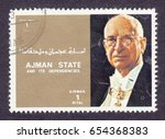 Small photo of AJMAN - CIRCA 1973: stamp printed by Ajman,shows Eamon de Valera (1882-1975), President of Ireland.Heads of State of the countries of the EU, circa 1973