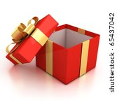 Open Red Present Box With...
