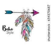 boho style ornamental feathers...   Shutterstock .eps vector #654370687