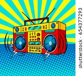 boombox comic book pop art... | Shutterstock . vector #654377293