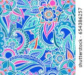 floral seamless pattern. doodle ... | Shutterstock .eps vector #654386257