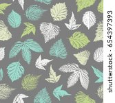 seamless pattern with forest... | Shutterstock .eps vector #654397393