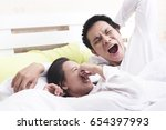 couple morning bad breath in... | Shutterstock . vector #654397993