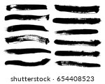 set of black paint  ink brush... | Shutterstock .eps vector #654408523