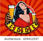 sensual lady and beer glass.... | Shutterstock .eps vector #654412537