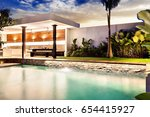 modern house with a clear... | Shutterstock . vector #654415927