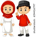 indonesian boy and girl in... | Shutterstock .eps vector #654416797