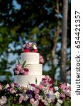 beautiful wedding cake  close... | Shutterstock . vector #654421357