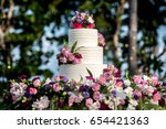 beautiful wedding cake  close... | Shutterstock . vector #654421363