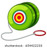 green yoyo with red ring... | Shutterstock .eps vector #654422233