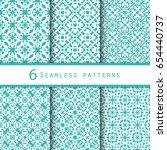 seamless set of 6 vintage... | Shutterstock .eps vector #654440737