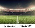 soccer field with illumination  ... | Shutterstock . vector #654444577