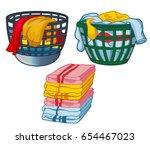 basket with linens vector ... | Shutterstock .eps vector #654467023