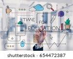 hand of businesswoman touching... | Shutterstock . vector #654472387