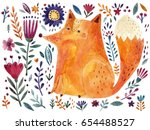 watercolor fox and flowers | Shutterstock . vector #654488527