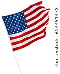 american flag isolated on white | Shutterstock . vector #654491473