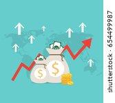 money bag vector and arrow... | Shutterstock .eps vector #654499987