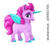 cute cartoon pegasus icon.... | Shutterstock .eps vector #654501703