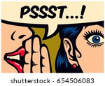 Pop Art style comic book panel gossip girl whispering in ear secrets with speech bubble, rumor, word-of-mouth concept vector illustration | Shutterstock vector #654506083