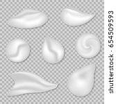 set of white cream or foam... | Shutterstock .eps vector #654509593