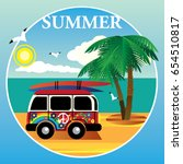 bus hippies on the ocean and... | Shutterstock .eps vector #654510817