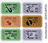 set of vintage grunge tickets... | Shutterstock .eps vector #654518953