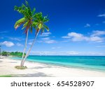 tropical beach with coconut palm | Shutterstock . vector #654528907