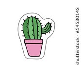 cute little cacti in pink... | Shutterstock .eps vector #654530143