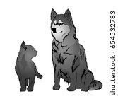 gray cat and husky. vector... | Shutterstock .eps vector #654532783