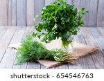Fresh Garden Dill And Parsley...