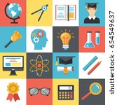 set of colorful flat school... | Shutterstock .eps vector #654549637