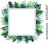 watercolor frame with tropical...   Shutterstock . vector #654561847